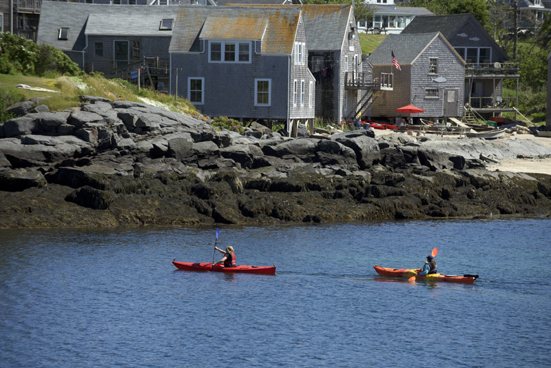Kayakers off the shore of Monhegan Island on Friday, June 22. (Jessica Picard photo)