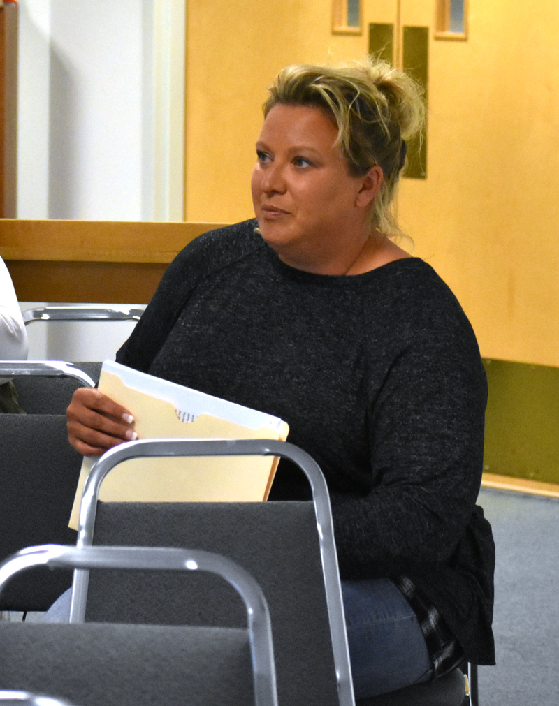 Renee Grover discusses her plans for a farm stand, wellness store, and medical marijuana caregiver's office during a Waldoboro Planning Board meeting Wednesday, June 27. (Alexander Violo photo)