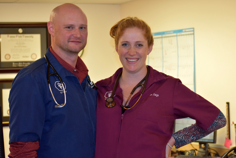 Dr. Art Charles and Dr. Bailey Gage took over ownership of Medomak Veterinary Services, on Route 1 in Waldoboro, in December 2017. (Alexander Violo photo)