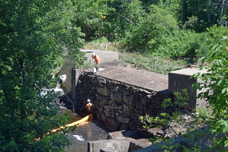 Work on the Coopers Mills Dam begins Thursday, July 19. The project is the first step in a multiple-year effort to improve habitat for endangered Atlantic salmon and other migratory fish along the Sheepscot River. (Jessica Clifford photo)
