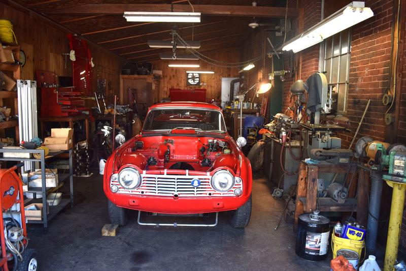 One of the rooms where David Laemmle restores vintage cars and motorcycles at Carriage Motors in downtown Wiscasset. (Jessica Clifford photo)