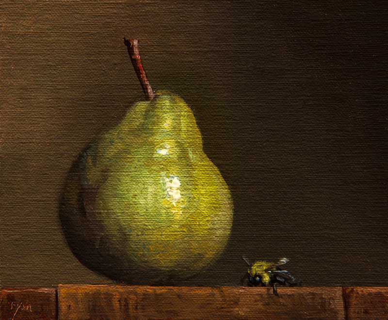 "Abbey Ryan's ""Still Life with Pear and Bumble Bee."""
