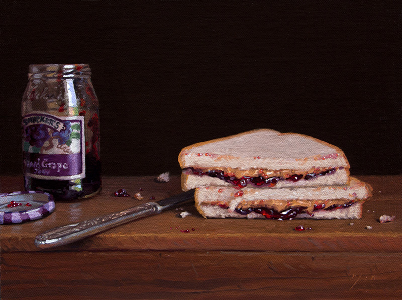 "Abbey Ryan's painting ""PB&J Halves with Jelly and Knife."""