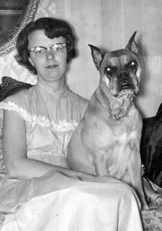 Marjorie and her boxer dog, Blondie, 1960. (Photo courtesy Marjorie and Calvin Dodge)