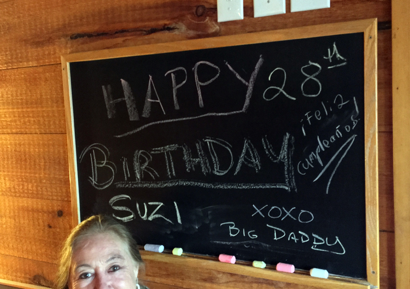 """I arrived at Robinson's to a message on the chalkboard and the tune of """"Happy Birthday."""" (Photo courtesy Caroline Canning)"""