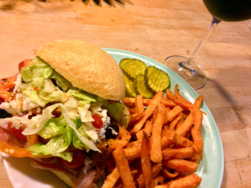 A fabulous sandwich, with some Alexia sweet potato fries and bread-and-butter pickles, makes a stellar dinner. (Suzi Thayer photo)