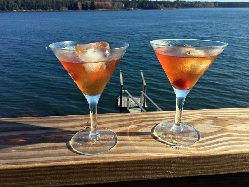 Manhattans on the St. George in Cushing. (Suzi Thayer photo)