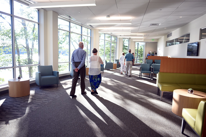 Guests walk through one of the waiting rooms in the new Herbert and Roberta Watson Health Center on LincolnHealth's Miles Campus in Damariscotta, Friday, Aug. 10. (Jessica Picard photo)