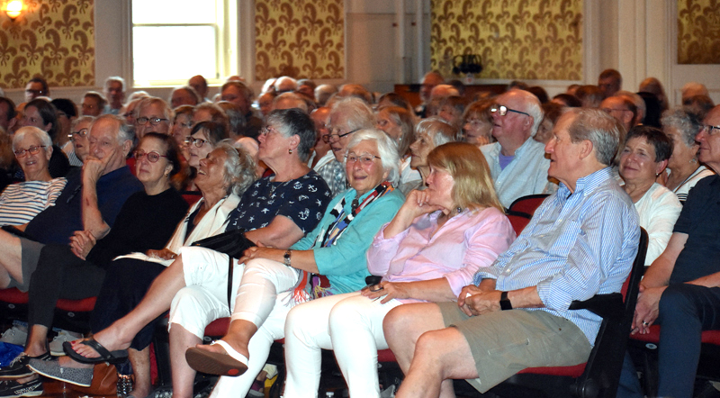 A full house attends Lincoln Theater's annual meeting in Damariscotta the evening of Thursday, July 26. (Alexander Violo photo)