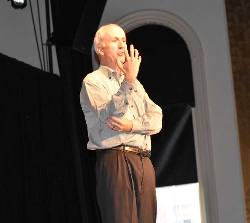 Lincoln Theater Executive Director Andrew Fenniman opens the annual meeting Thursday, July 26. (Alexander Violo photo)