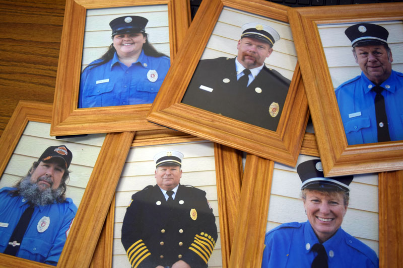 Members of the Dresden Fire Department from the Lilly family include the current chief and his predecessor, as well as other present and past officers. Top from left: Sonia Lilly, Steve Lilly, and Gorham Lilly. Bottom from left: Albert Lilly, Gerald Lilly, and Susan Bickford-Lilly. (Jessica Clifford photo)