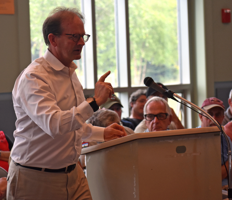 Attorney Richard Olson speaks during an adjudicatory hearing regarding the water level of Dyer Long Pond at Jefferson Village School on Thursday, July 26. (Alexander Violo photo)