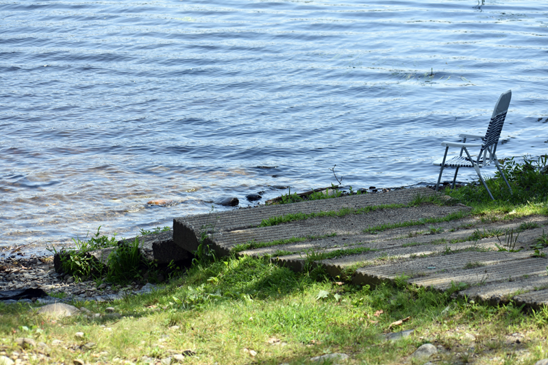 The carry-in launch at Dyer Long Pond is out of the water. The launches are designed to enter the water, according to Diano Circo, of the Maine Department of Inland Fisheries and Wildlife. (Alexander Violo photo)
