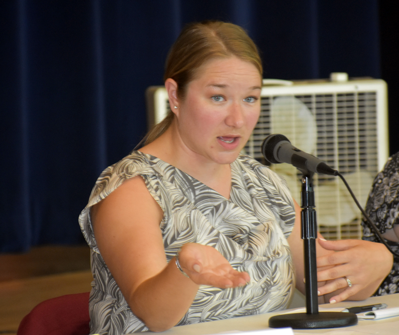 Maine Department of Environmental Protection Director of Policy Christina Hodgeman, as presiding officer, opens the Dyer Long Pond water-level hearing at Jefferson Village School on Thursday, July 26. (Alexander Violo photo)