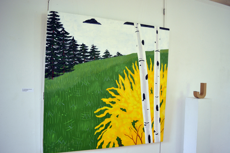 """Newcastle artist Jane Dahmen's 50-by-50-inch acrylic painting """"Forsythia"""" hangs upstairs at Maine Art Gallery in Wiscasset as part of the gallery's current """"Three Women on Board"""" exhibit. (Christine LaPado-Breglia photo)"""