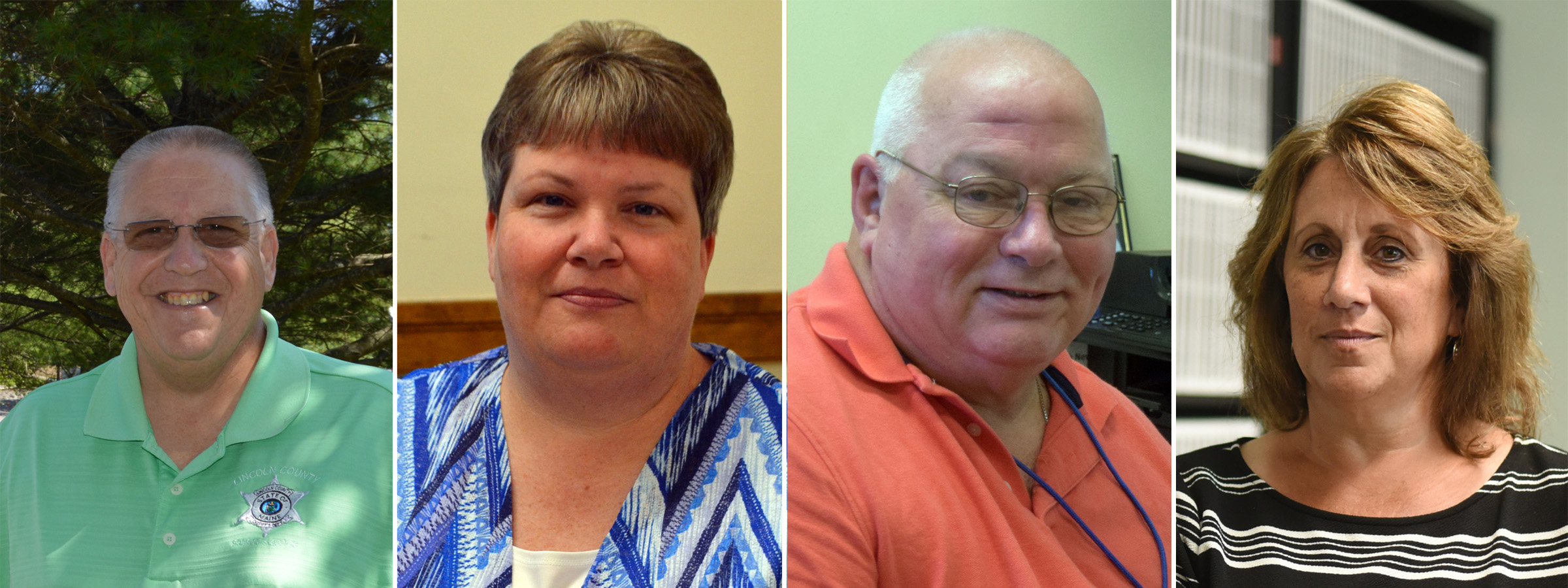 Four county office-holders are running for re-election unopposed. From left: Lincoln County Sheriff Todd Brackett, Register of Probate Catherine Moore, Treasurer Rick Newell, and Register of Deeds Rebecca Wotton.