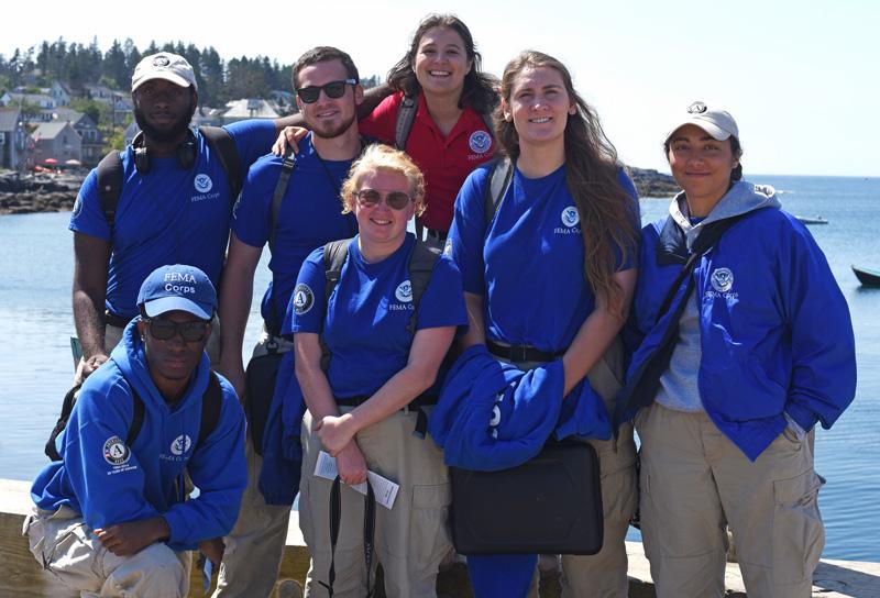 "The ""Summit 7"" FEMA Corps group on Monhegan, Monday, Aug. 20. (Jessica Picard photo)"