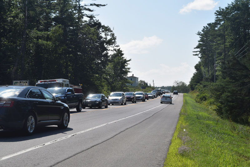 Traffic backs up on Route 1 near the Nobleboro-Waldoboro line Thursday, Aug. 16. A truck and camper went off the road at the town line, causing the backup. (Jessica Clifford photo)