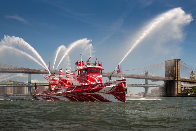 The John J. Harvey was an active Fire Department of New York fireboat from 1931-1994. A seasonal resident of South Bristol now owns the historic vessel, which functions as a floating museum in New York City. (Photo courtesy Public Art Fund)