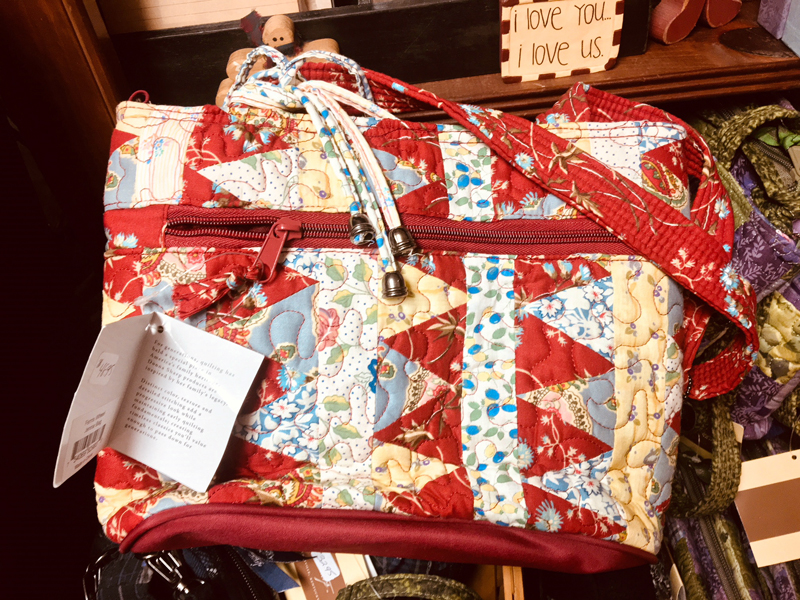 Donna Sharp quilted handbags, totes, and purses are among the biggest sellers at Burnham's Bloomers. (Suzi Thayer photo)
