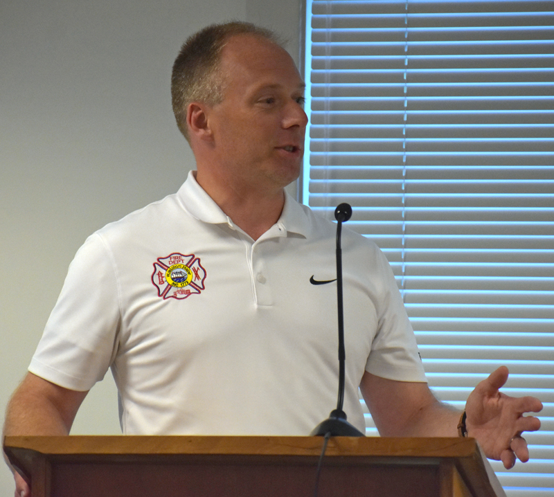 Waldoboro Fire Chief Paul Smeltzer discusses the department's need for a ladder truck during a Waldoboro Board of Selectmen's meeting Tuesday, Aug. 28. (Alexander Violo photo)