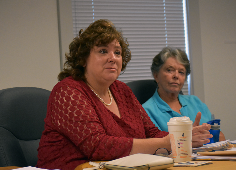 Waldoboro Town Manager Julie Keizer discusses financing philosophies during a Waldoboro Board of Selectmen's meeting Tuesday, Aug. 28. (Alexander Violo photo)