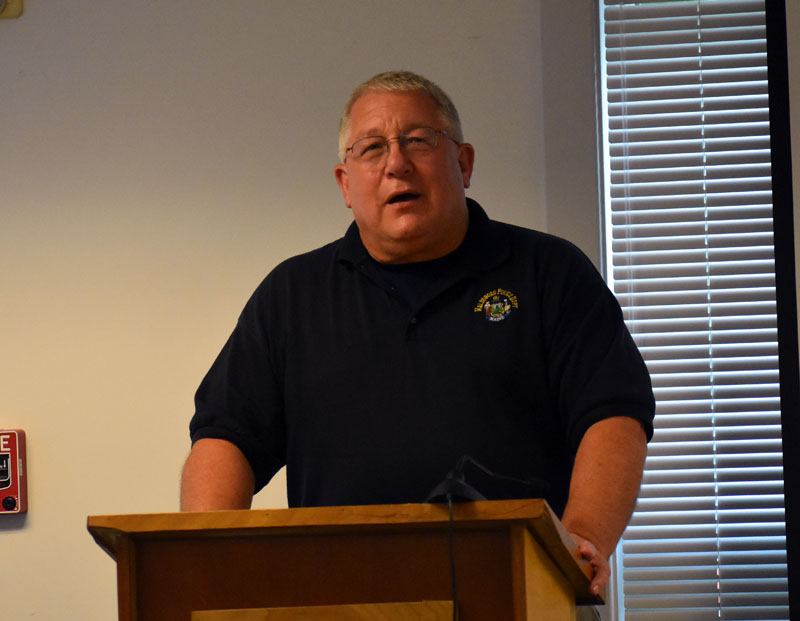 Waldoboro Police Chief William Labombarde announces his upcoming transition from chief to school resource officer to the Waldoboro Board of Selectmen on Tuesday, Aug. 14. (Alexander Violo photo)
