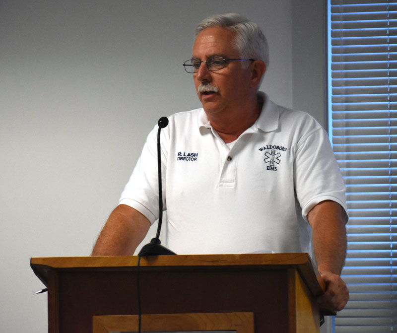 Waldoboro Emergency Medical Services Director Richard Lash talks about the purchase of a new ambulance at the Waldoboro Board of Selectmen's meeting Tuesday, Aug. 14. (Alexander Violo photo)
