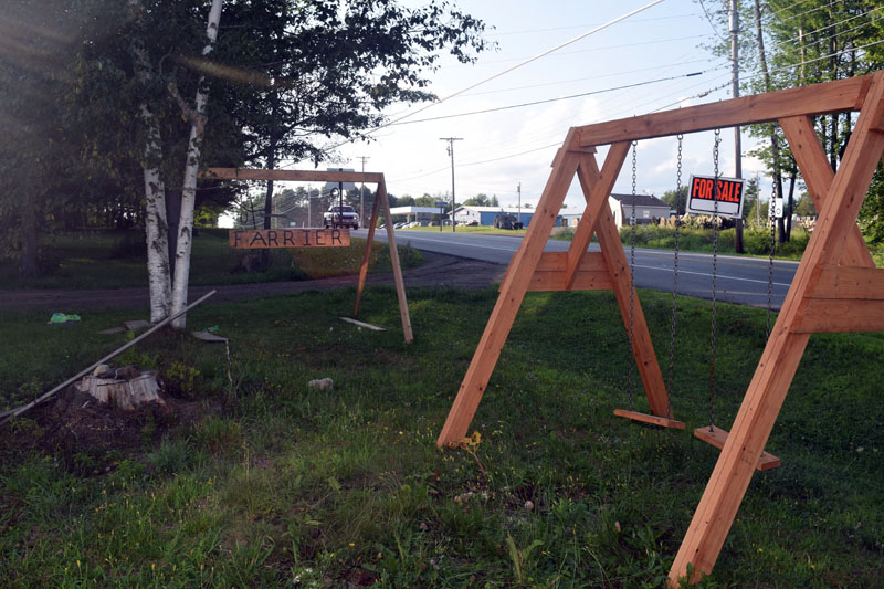 A swingset for sale by Henry Miller, who also makes picnic tables at his son's property on Route 17. (Jessica Clifford photo)
