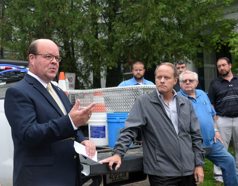 Timothy Hobbs, state director for U.S. Department of Agriculture Rural Development in Maine, speaks at a valve-turning ceremony for the Wiscasset Water District's $8.8 million infrastructure project Monday, Aug. 13. (Jessica Clifford photo)