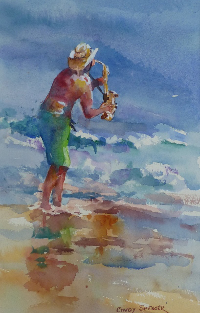 """Artist Cindy Spencer's """"Inspiring Improvs"""" watercolor can be viewed at Pemaquid Art Gallery."""