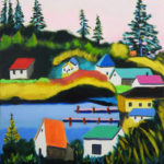 Stylized Coastal Paintings of Hallet, Sherman at Pemaquid Art Gallery