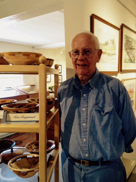 Tom Raymond with his wooden bowls.