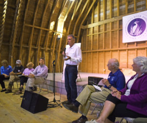 Michael Kane, a member of the Pemaquid Watershed Association Board of Directors, speaks during a meeting about the potential unification of the Damariscotta River Association and PWA at the DRA's Darrows Barn in Damariscotta on Wednesday, Sept. 12. (Jessica Picard photo)