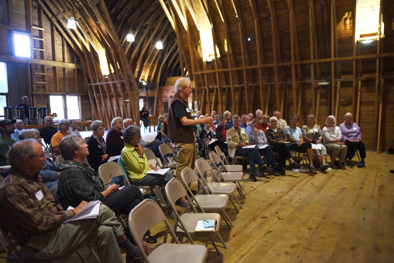 Haas Tobey speaks during a meeting about the potential unification of the Damariscotta River Association and Pemaquid Watershed Association at Darrows Barn in Damariscotta, Wednesday, Sept. 12. (Jessica Picard photo)