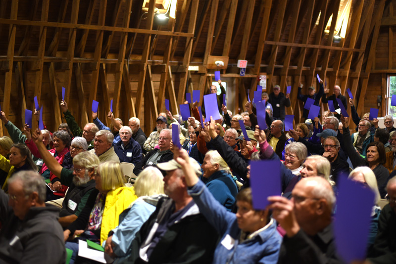 Damariscotta River Association members vote to unite with the Pemaquid Watershed Association at Darrows Barn in Damariscotta, Tuesday, Sept. 25. (Jessica Picard photo)