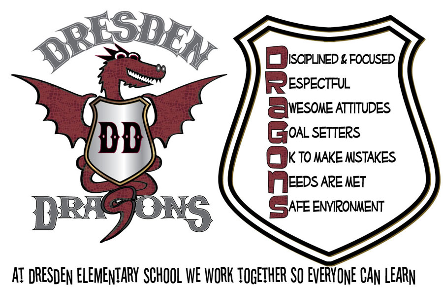 The new design of Dresden Elementary School's dragon mascot, by parent Katrina Willey and her daughter, Jessie Willey. The shield to the right uses the name Dragons as an acronym with some of the school's values. (Image courtesy Katrina Willey)