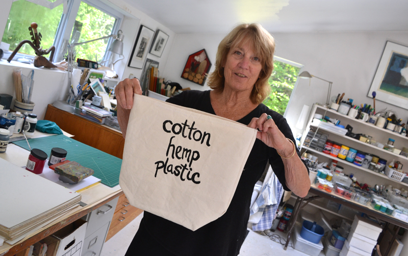 South Bristol artist Joy Vaughan displays the prototype she is working on for her upcoming canvas bag project. (Christine LaPado-Breglia photo)