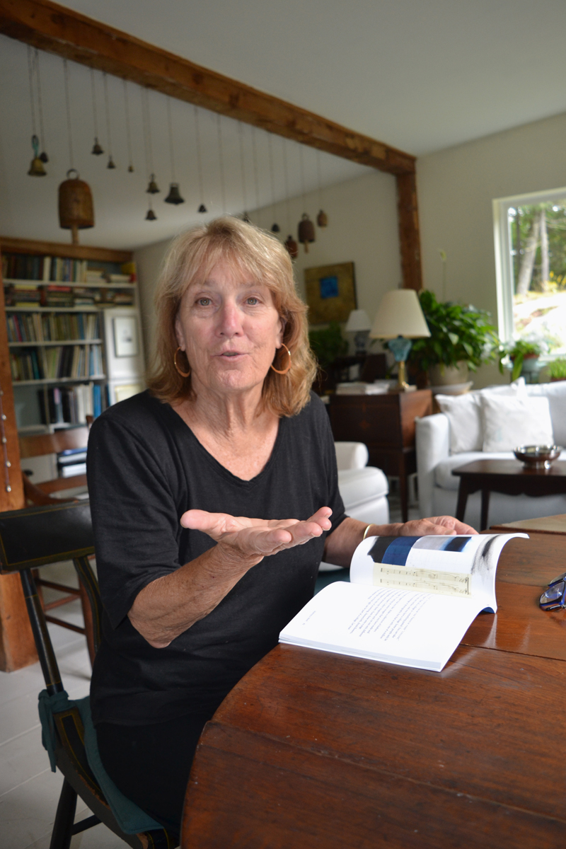 "Joy Vaughan talks about her brand-new book, ""Off the Edges & Outside the Lines,"" at her home in South Bristol. (Christine LaPado-Breglia photo)"