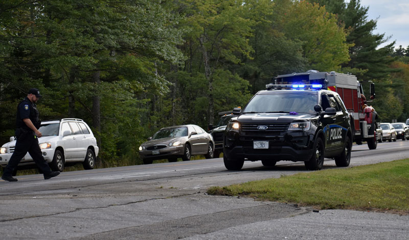 Traffic on Route 1 in Waldoboro was stopped for about 15 minutes during the response to a three-vehicle collision the afternoon of Wednesday, Sept. 12. (Alexander Violo photo)