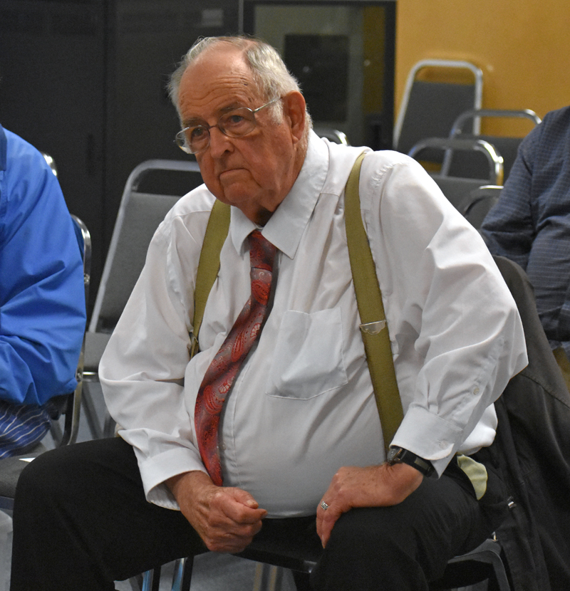 Ray Perkins, of Waldoboro, attends a meeting of the Waldoboro Board of Selectmen at the municipal building Tuesday, Sept. 11. Perkins has started a petition to ban consumer fireworks in the town. (Alexander Violo photo)