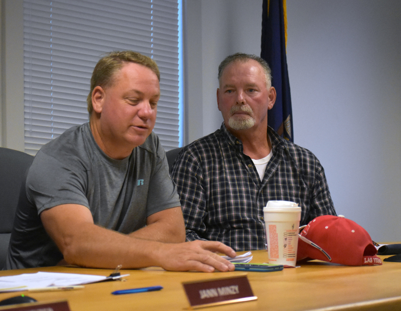 Waldoboro Selectmen Abden Simmons (left) and Clinton Collamore attend a meeting at the municipal building Tuesday, Sept. 11. (Alexander Violo photo)