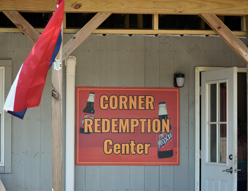Waldoboro's Corner Redemption Center is open beneath McGreevy's Corner Store, at Kaler's Corner. (Alexander Violo photo)