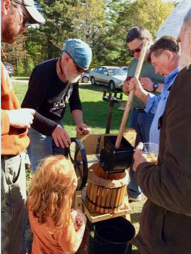 Pressing cider at Pownalborough Courthouse.