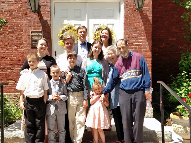 Charlie and Carolyn Blouin (first and second from left) pose for a photo with the Eddyblouin family at St. Patrick's Church in Newcastle.