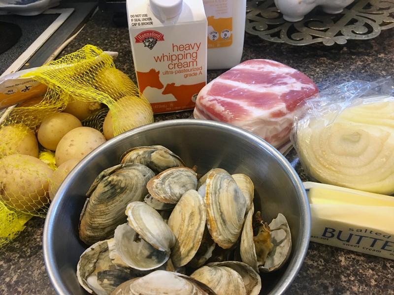 Mise en place for clam chowder. (Suzi Thayer photo)