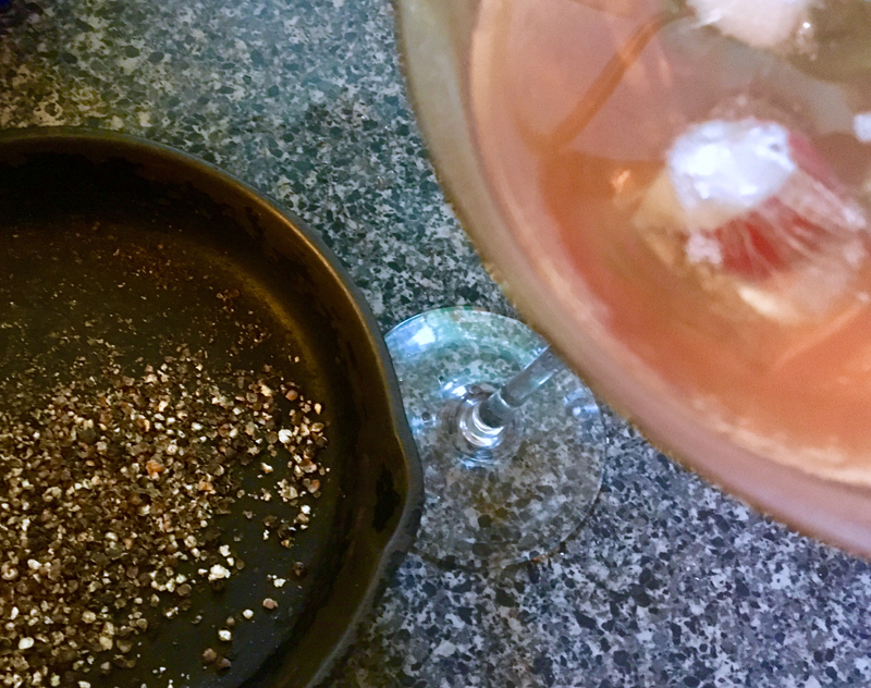 Crushed pan-roasted peppercorns and a Manhattan. Why wouldn't I love cooking for myself? (Suzi Thayer photo)