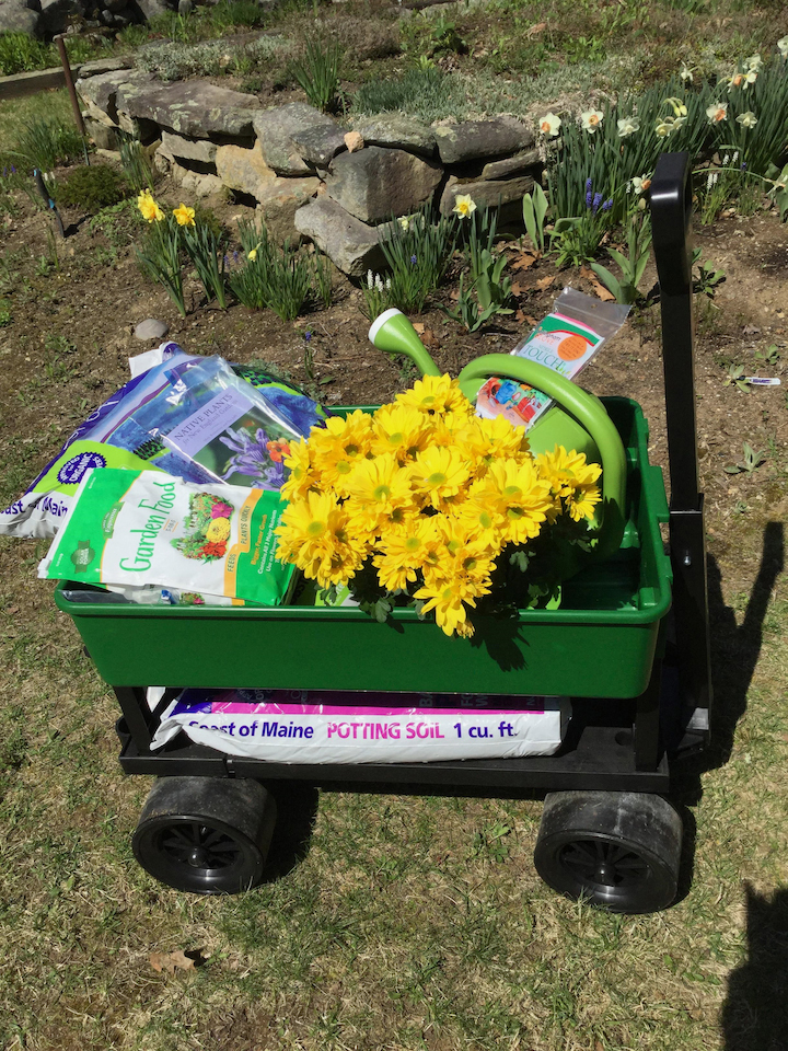 One of five prizes available from the Old Bristol Garden Club Raffle is a garden cart with plenty of gardening accessories.