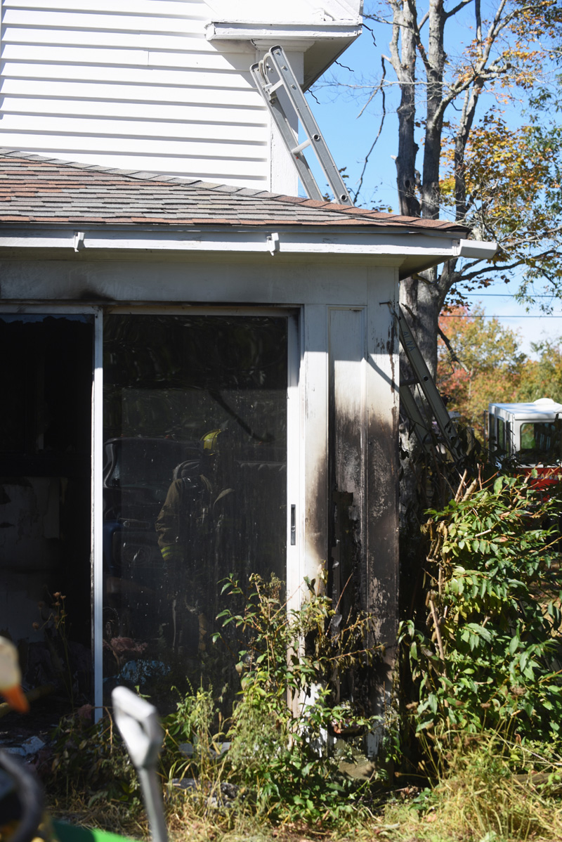 The corner of the back porch, where the fire started, at 1181 West Alna Road in Alna. (Jessica Picard photo)