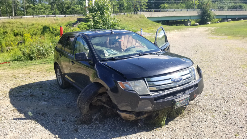 The 2007 Ford Edge Hunter M. Andrews was driving in a high-speed flight from police Aug. 2. Andrews crashed at the intersection of Route 1 and Mountain Road in Woolwich, with the vehicle coming to rest in the parking lot of the Montsweag Flea Market. (Photo courtesy Lincoln County Sheriff's Office)